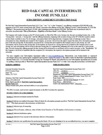 Red Oak Capital intermediate income fund LLC